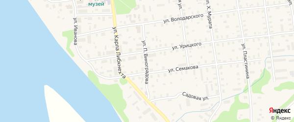 Улица П.Виноградова на карте Шенкурска с номерами домов