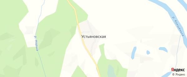 Карта Устьяновской деревни в Архангельской области с улицами и номерами домов