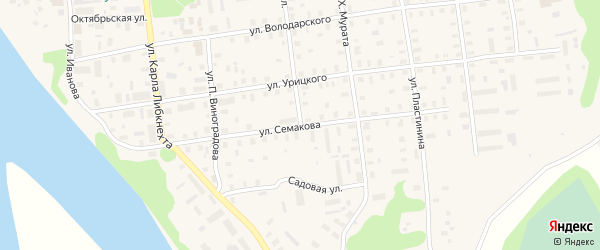 Улица Семакова на карте Шенкурска с номерами домов