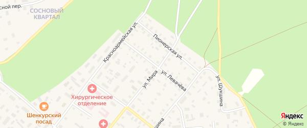 Улица Левачева на карте Шенкурска с номерами домов