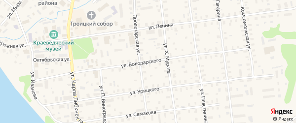 Улица Володарского на карте Шенкурска с номерами домов