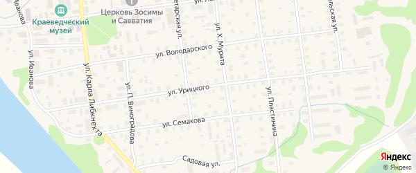 Улица Урицкого на карте Шенкурска с номерами домов