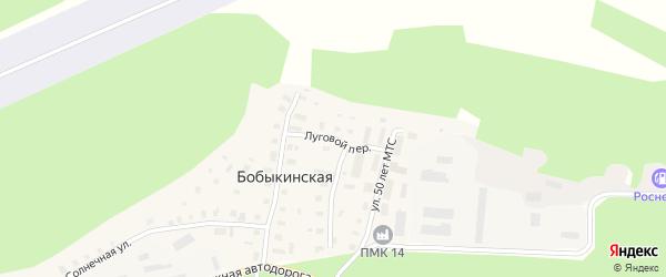 Луговой переулок на карте Бобыкинской деревни с номерами домов