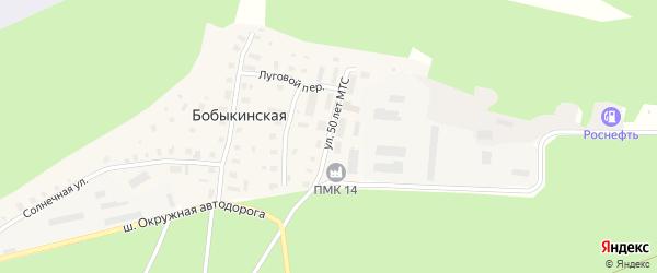 Улица 50 лет МТС на карте Бобыкинской деревни с номерами домов
