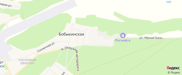 Карта Бобыкинской деревни в Архангельской области с улицами и номерами домов