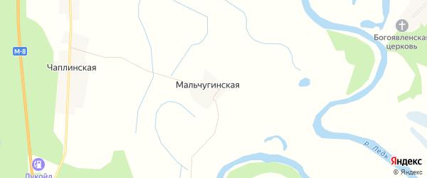 Карта Мальчугинской деревни в Архангельской области с улицами и номерами домов