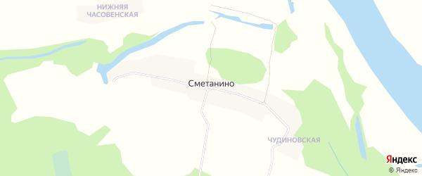 Карта деревни Сметанино в Архангельской области с улицами и номерами домов