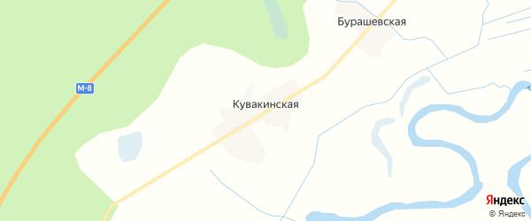 Карта Кувакинской деревни в Архангельской области с улицами и номерами домов