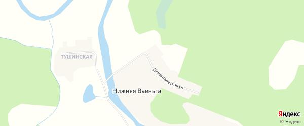 Карта деревни Нижней Ваеньги в Архангельской области с улицами и номерами домов