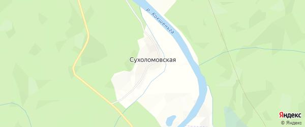Карта Сухоломовской деревни в Архангельской области с улицами и номерами домов