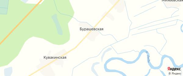Карта Бурашевской деревни в Архангельской области с улицами и номерами домов