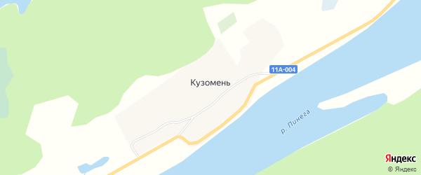 Карта деревни Кузомень в Архангельской области с улицами и номерами домов