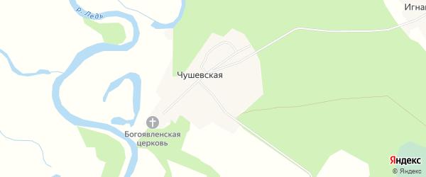 Карта Чушевской деревни в Архангельской области с улицами и номерами домов