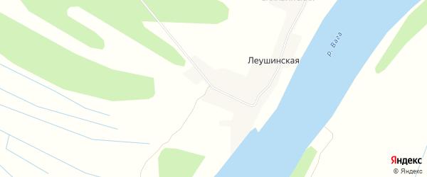 Карта Леушинская деревни в Архангельской области с улицами и номерами домов