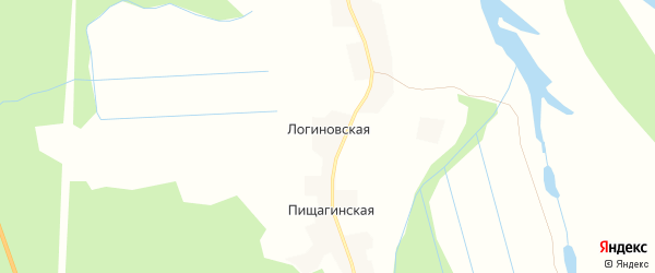 Карта Логиновской деревни в Архангельской области с улицами и номерами домов