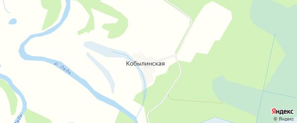 Карта Кобылинской деревни в Архангельской области с улицами и номерами домов