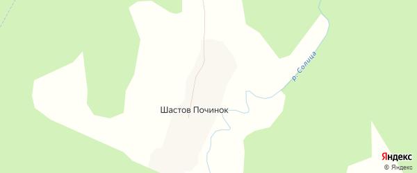 Карта деревни Шастова Починка в Архангельской области с улицами и номерами домов