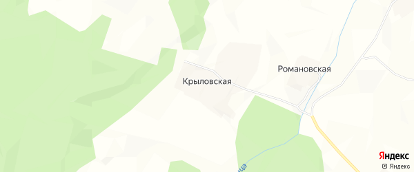 Карта Крыловской деревни в Архангельской области с улицами и номерами домов