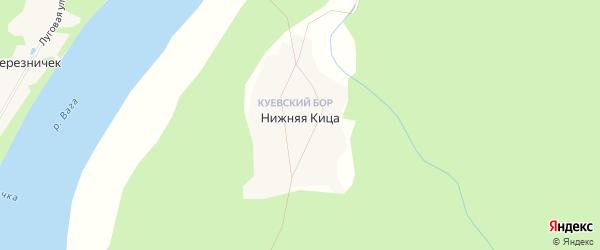 Карта поселка Нижней Кицы в Архангельской области с улицами и номерами домов