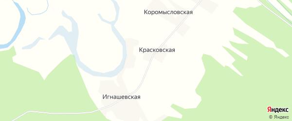 Карта Красковской деревни в Архангельской области с улицами и номерами домов