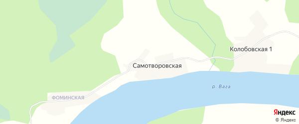 Карта Самотворовской деревни в Архангельской области с улицами и номерами домов