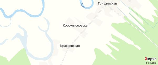 Карта Коромысловской деревни в Архангельской области с улицами и номерами домов