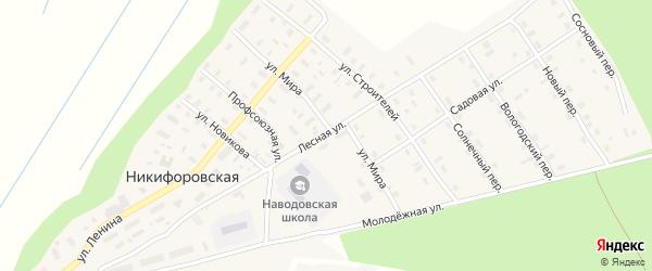 Лесная улица на карте Никифоровской деревни с номерами домов