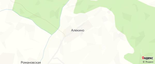 Карта деревни Алекино в Архангельской области с улицами и номерами домов
