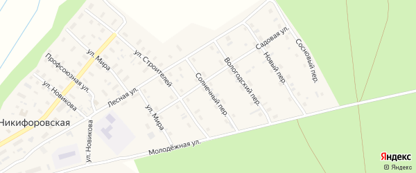 Солнечный переулок на карте Никифоровской деревни с номерами домов