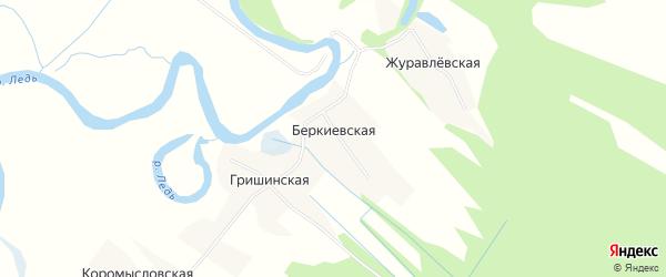 Карта Беркиевской деревни в Архангельской области с улицами и номерами домов
