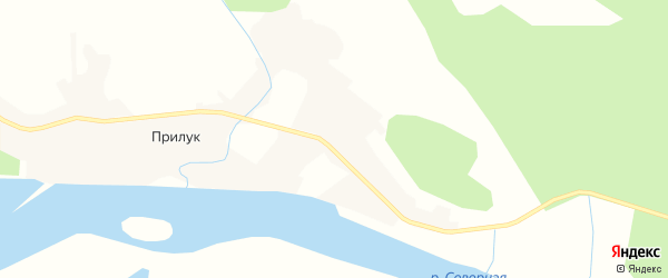 Карта деревни Прилука в Архангельской области с улицами и номерами домов