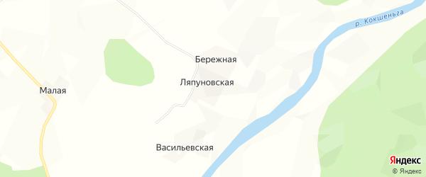 Карта Ляпуновской деревни в Архангельской области с улицами и номерами домов