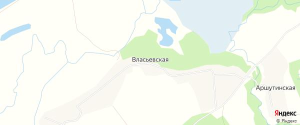Карта Власьевской деревни в Архангельской области с улицами и номерами домов
