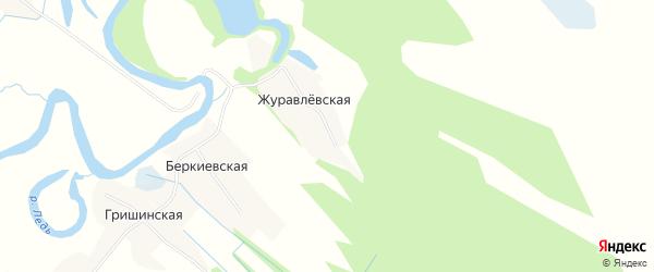 Карта Журавлевской деревни в Архангельской области с улицами и номерами домов
