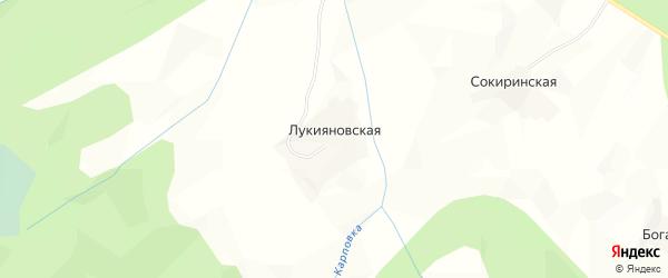 Карта Лукияновской деревни в Архангельской области с улицами и номерами домов