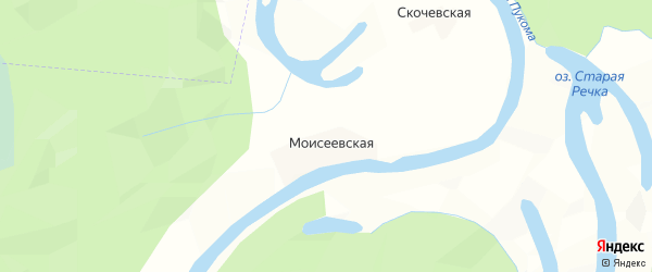 Карта Моисеевской деревни в Архангельской области с улицами и номерами домов