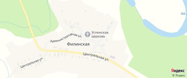 Центральная улица на карте Филинской деревни с номерами домов