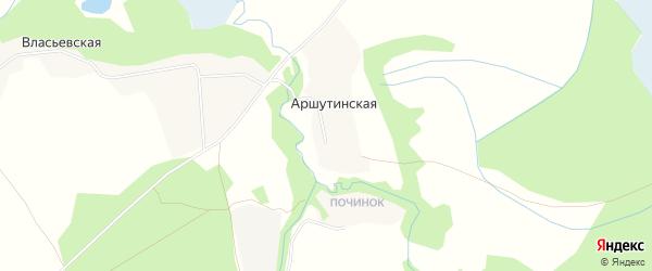 Карта Аршутинской деревни в Архангельской области с улицами и номерами домов