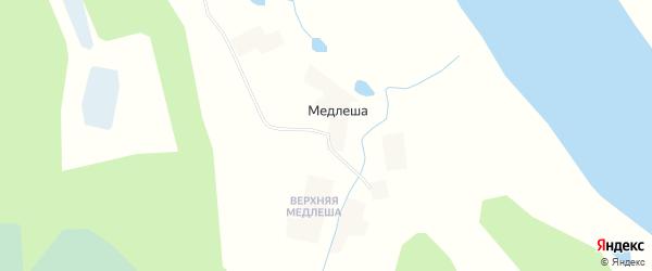 Карта деревни Медлеши в Архангельской области с улицами и номерами домов