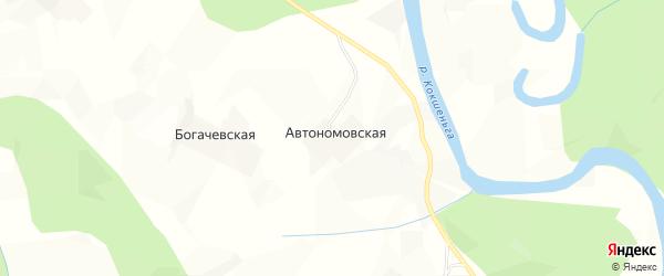 Карта Богачевской деревни в Архангельской области с улицами и номерами домов