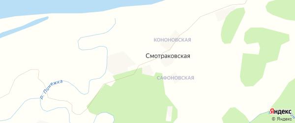 Карта Смотраковской деревни в Архангельской области с улицами и номерами домов