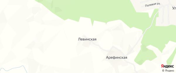 Карта Левинской деревни в Архангельской области с улицами и номерами домов