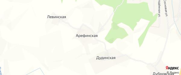 Карта Арефинской деревни в Архангельской области с улицами и номерами домов