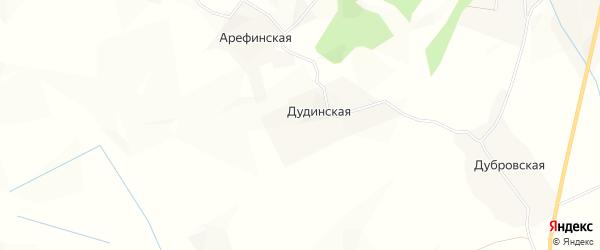 Карта Дудинской деревни в Архангельской области с улицами и номерами домов