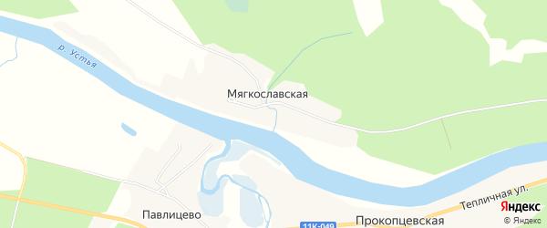Карта Мягкославской деревни в Архангельской области с улицами и номерами домов