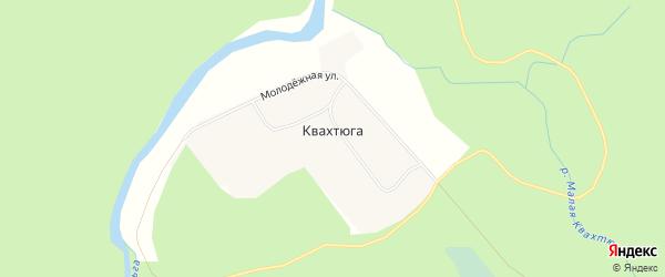 Карта поселка Квахтюги в Архангельской области с улицами и номерами домов