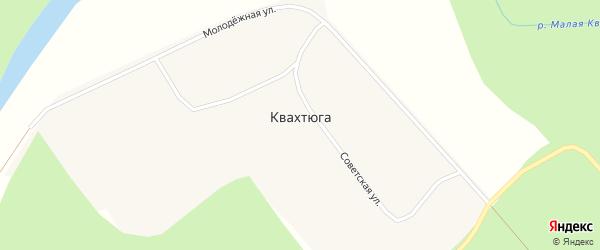 Зеленая улица на карте поселка Квахтюги с номерами домов