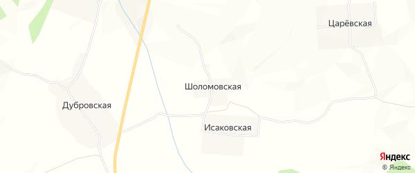Карта Шоломовской деревни в Архангельской области с улицами и номерами домов
