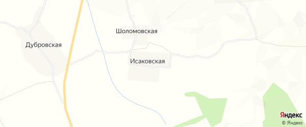 Карта Исаковской деревни в Архангельской области с улицами и номерами домов
