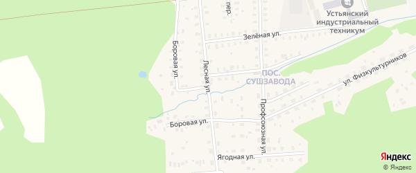 Лесная улица на карте поселка Сенгоса с номерами домов